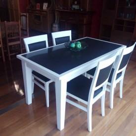 Mesa de haya lacada blanca + quarzo 150x80 Fija